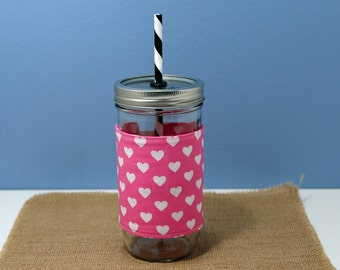 Mason Jar Tumbler 24 oz | Mason Jar To Go Cup | BPA Free Lid and Straw | Free Personalization | Pink and White Hearts Fabric Sleeve