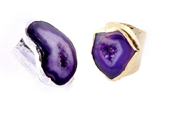 Agate Ring- Purple Agate on an Adjustable Electroplated Gold or Silver Cigar Band Ring