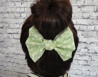 Green Cotton Fabric Floral Print Burlap Fabric Hair Accessory Hair Bow Barrette For All Hair Types Alligator Hair Clip For Girls