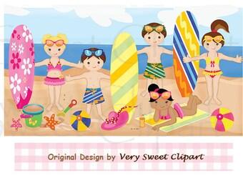 Summer surf kids digital illustration clipart