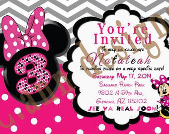 3rd birthday Minnie Mouse invitations