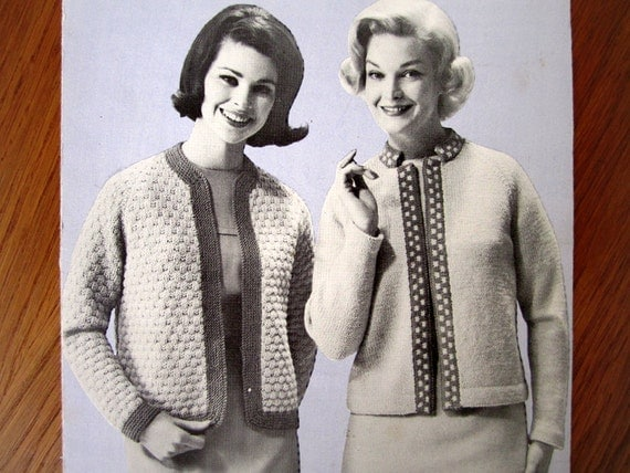 Knitting Pattern Chanel Style Jacket : CHANEL JACKETS Knitting Pattern Beehive 1960s Vintage DK