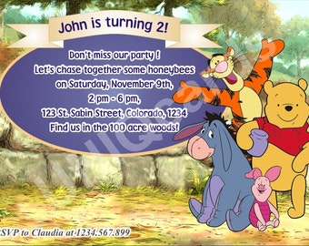 Winnie invitation, Winnie the Pooh birthday invitation, Pooh Bear invitation