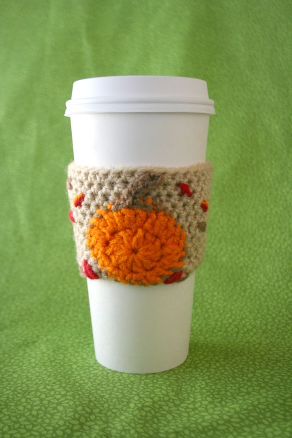 Pumpkin cup cozy crochet pumpkin leaves coffee cozy tea