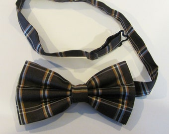 Mens Bow Tie Brown And Gold Plaid Pre Tied Bow Tie