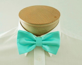 Mens Bowties Pool Blue Robin's Egg Blue Solid PreTied Bow Tie Neck Tie