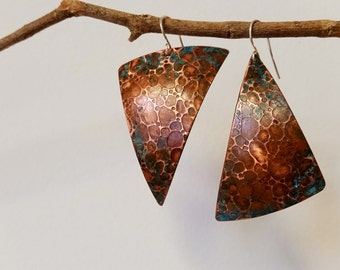 Copper Earrings- Triangle Earrings with Organic Texture and Gorgeous Bluegreen Oxidation. Free Shipping.