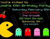 Pacman Video game birthday party printable invitations UPrint customized card by greenmelonstudios