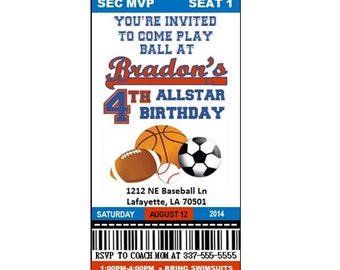 Sports themed birthday invitation-size 3.67x8.5