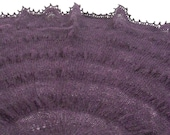 Deep Purple Shawlette - Hand Knit from Icelandic Wool with Bands of Ruching