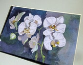 picture flowers, watercolor orchid,  blue flower, white flower, flowers watercolor, painting as a gift