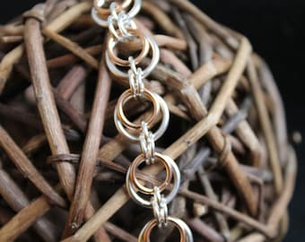 Eclipse Silver-Plate and Bronze Chainmaille Bracelet