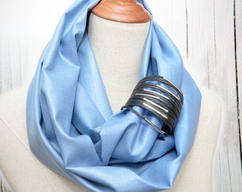 Linen Infinity Scarf. Chunky Scarf. Natural Linen. Cornflower. Black cuff.