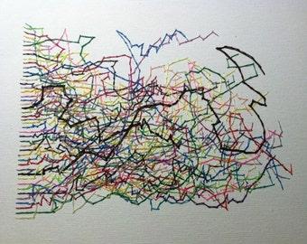 "original abstract stitching 8""x10"""