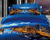 Bedding set 3d blue bedclothes Queen king adults bed sheet Duvet/quilt cover pillow sham sets