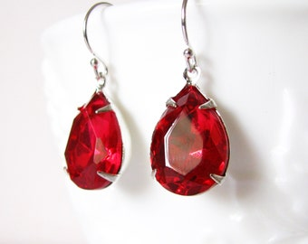 Ruby Red Dangle Earrings Glass Drop Earrings Handmade Jewelry Sterling Silver