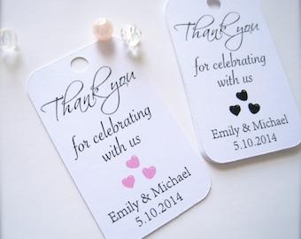 Wedding favor tags, custom gift tags, bridal shower favor tags, baby shower favor tags, thank you tags - 30 count