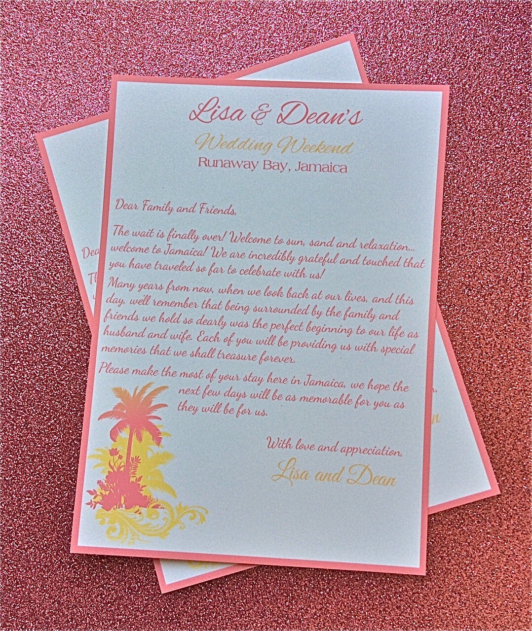Wedding Welcome Letters With Palm Tree Design By