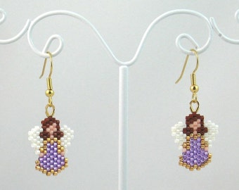 Beaded Little Purple Angel Earrings