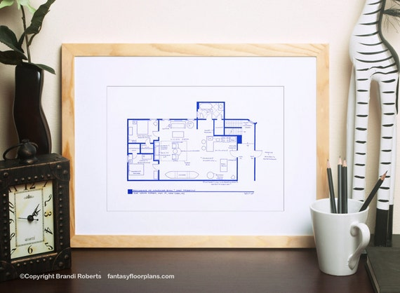 Friends tv show floor plan blueprint art for apartment of like this item malvernweather Image collections