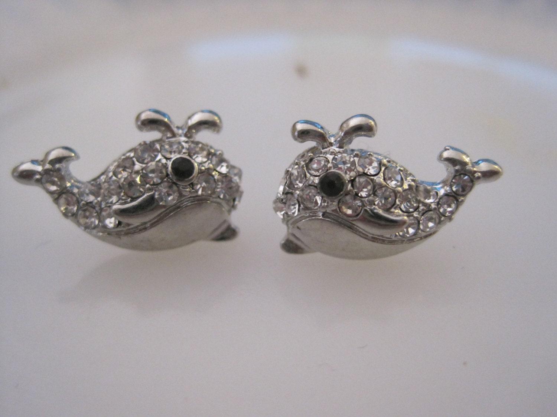 silver whale earrings whale stud earrings rhinestone whale