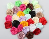 100pcs 25mm Handmade Satin Ribbon Flower Appliques Rose for DIY decoration mixed 9 colors(AP145)