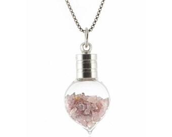 Natural PINK DIAMOND Uncut Rough Heart Pendant ~ 3.00ctw Genuine Pink Diamond ~ Sterling Silver Italian Box Chain ~ Made in Canada