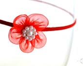 Red Organza Flower Headband