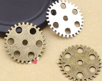Wholesale 100pcs  25mm Antiqued Silver Tone/Antique Bronze/Golden Gear Bracelet Connector  Charms Findings