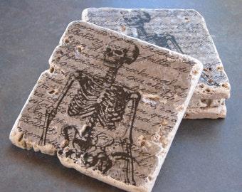 Skeleton Rustic Tile Coasters