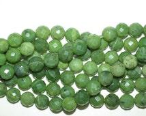 Nephrite Jade Green BC Jade 12 mm Faceted Round Beads Full OR Half Strand, Polar Jade - Canadian Jade - Genuine Natural Jade