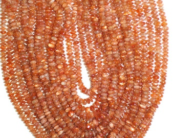 Sunstone Beads, Sunstone Rondelle Beads 5mm, Best Quality Luster Smooth Polished Full Or Half Strand