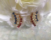 Patriotic Rhinestone Earrings Clipon Red White Blue Uncle Sam Vote July 4 Election Flag Memorial Veteran Day Goldtone Political Flag Jewelry