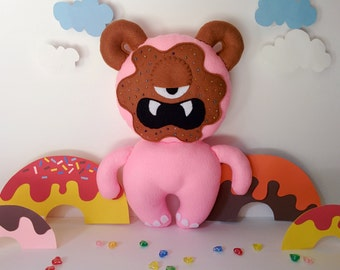 Strawberry Chocolate Donut Monster Plush - Pink Monster, Chocolate, Sprinkles