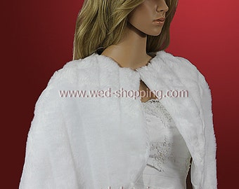 Wedding Cape Ivory White Faux Fur A1004