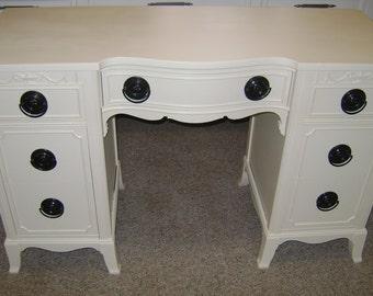 Antique Vanity Desk Shabby Chic White