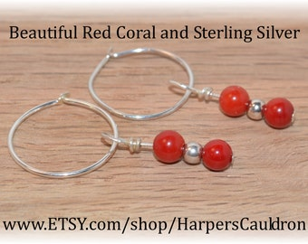 Red Coral & Sterling Silver Beads, on a Sterling Silver Headpin, and Silver-plated Hoops