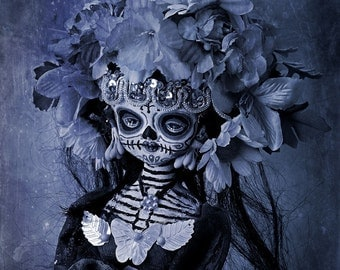 Beautiful Mortal Dia De Los Muertos Goth Blue Doll Doll PRINT 562 Reproduction by michael brown