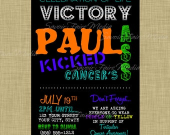 Cancer Survivor, Beat Cancer, Celebration of Life Bright and Black Invitation, Survival, Kicked Cancers Ass