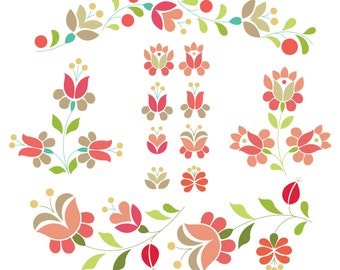 Flower Digital Clipart Set  Kalocsai Flower - Instant Download - Personal and Commercial Use
