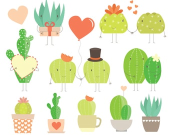 Valentine's Day Love Cactus Digital Clipart & Vector Set - Instant Download - Personal and Commercial Use