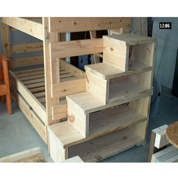solid wood custom made stairs for bunk or loft bed usmfs. Black Bedroom Furniture Sets. Home Design Ideas