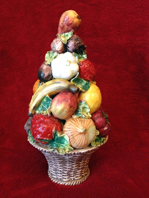 Italian Ceramic Fruit Topiary In A Basket Centerpiece Majolica