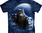 men's or woman's t-shirt, wolf, three wolf night, multicolored,stonewashed, size xl, brand new 100% preshrunk cotton
