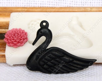 Swan Chrysanthemum flower, flexible silicone mold, mould, for polymer clay, М124 (3/3)