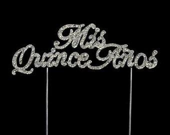 "Silver ""Mis Quince Años"" Rhinestone Cake Topper"
