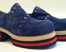 DISCO..1970'S Platform Shoes Amazinig 2 Tone with Studs! Dead/Stock! Mens Size 8 1/2
