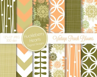 80% OFF SALE Vintage Peach Blooms Digital Scrapbook Paper or Background with Peach, Mint and Olive Green