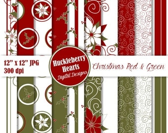 80% OFF SALE Red and Green Christmas Digital Paper with Poinsettias and Holly, Holiday Backgrounds, Digital Scrapbook Paper, DIY Printables