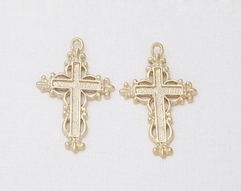 Antique Cross Pendant Matte Gold-Plated - 2 Pieces<AA0037-MG>
